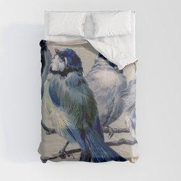 Vintage Cute Blue Birds on Branch Comforters