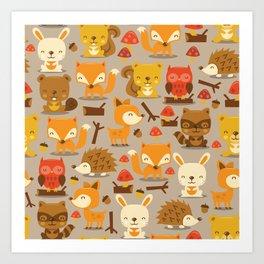 Super Cute Woodland Creatures Pattern Art Print