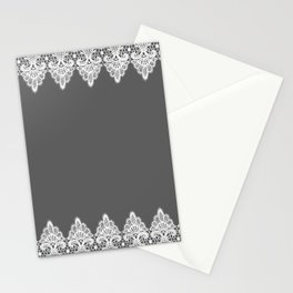 White Vintage Lace Gray Background Stationery Cards