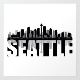 Seattle Silhouette Skyline Art Print