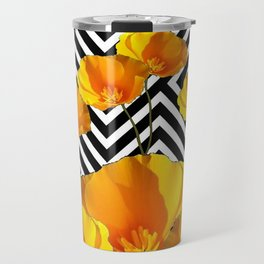BLACK & WHITE CALIFORNIA YELLOW POPPIES ART Travel Mug