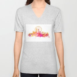London skyline map city pink Unisex V-Neck