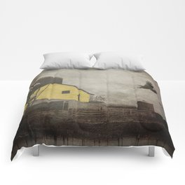 Yellow Barn on Sepia Background With Birds Flying A170 Comforters