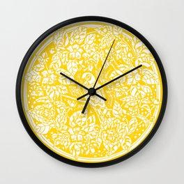 Gen Z Yellow Parakeet Lino Cut Wall Clock