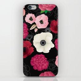 Black & Pink Flowers Midnight iPhone Skin