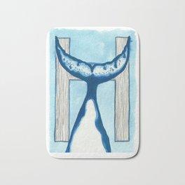 H is for Humpback Whale Letter Alphabet Decor Design Art Pattern Bath Mat