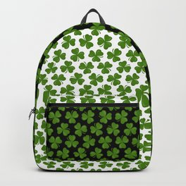 Green Shamrocks Pattern on Black and White Backpack
