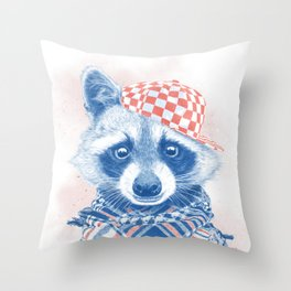 Rocco Raccoon - blue version Throw Pillow