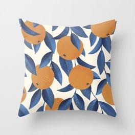 Orange Citrus Blossoms Blue Leaves Seamless Pattern Throw Pillow