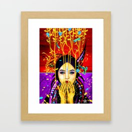 The girl and the leopard Framed Art Print