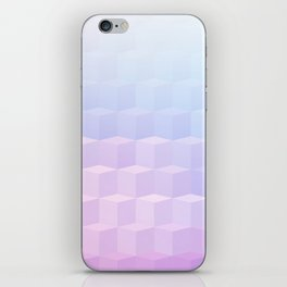 Pastel Cube Pattern Ombre 1 - pink, blue and vi iPhone Skin