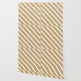 Chai Tea Diagonal Stripes Wallpaper