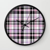 plaid Wall Clocks featuring Plaid by Xiao Twins