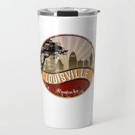 Louisville City Skyline Design Kentucky Retro Vintage Travel Mug