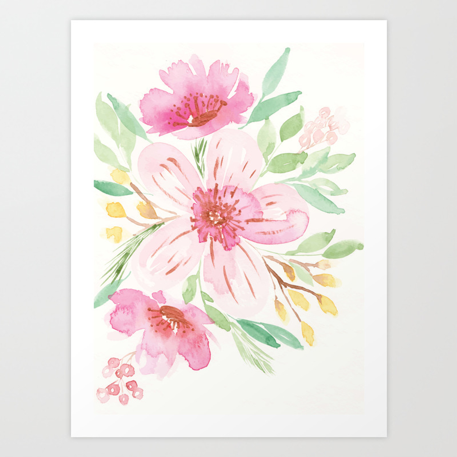 Watercolor Floral Bouquet With Copper Accents Art Print By
