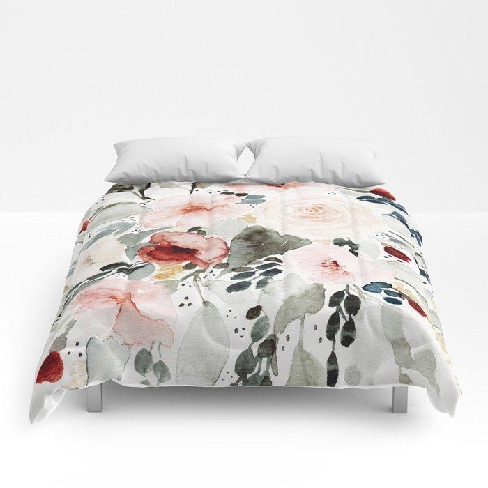 Loose Watercolor Bouquet Comforters