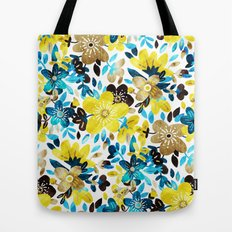 Happy Yellow Flower Collage Tote Bag