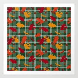 Fall Leaves and Acorns on Plaid Art Print