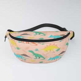 Jurassic Dinosaurs on Peach Fanny Pack
