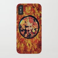 """nicolas cage iPhone & iPod Cases featuring Nicolas cage eyeshadow: """"Nic Cage Raking Leaves On a Brisk October Afternoon"""" by Paris Noonan"""