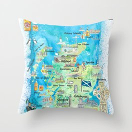 Scotland Illustrated Map with Landmarks and Highlights Throw Pillow