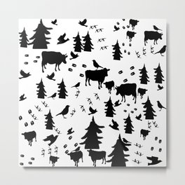 Cow Out In the Pasture by Lorloves Design Metal Print