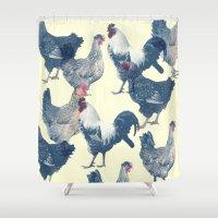 chicken Shower Curtains featuring CHICKEN by austeja saffron
