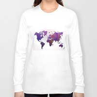map of the world Long Sleeve T-shirts featuring World Map by Roger Wedegis
