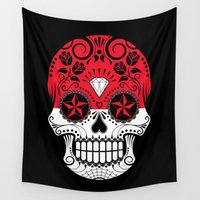 indonesia Wall Tapestries featuring Sugar Skull with Roses and Flag of Indonesia by Jeff Bartels