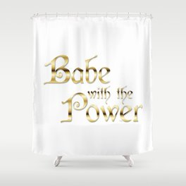 Labyrinth Babe With The Power (white bg) Shower Curtain
