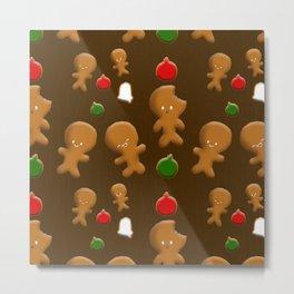 Gingerbread Men Pattern Metal Print