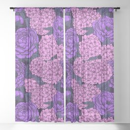 Peony and hydrangea in pink and violet Sheer Curtain