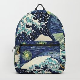 The Great Wave of Pug Starry Night Backpack
