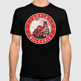 Sofia, Bulgaria, Alexander Nevsky Cathedral, circle, red T-shirt