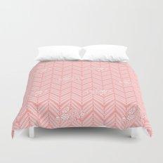 Coral Pink Chevron Floral Duvet Cover