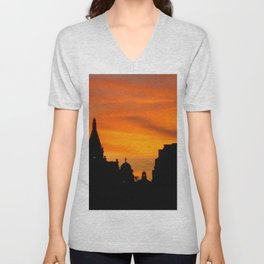 London Sunset in sillouette bywhacky Unisex V-Neck