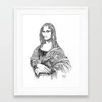 mona lisa Framed Art Prints featuring Mona Lisa by April Gann