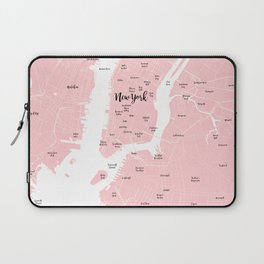 New York Map in the Eyes of a Girl who loves Calligraphic fonts Laptop Sleeve