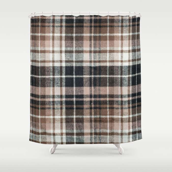 Plaid Fabric Print In Brown Black And White Shower Curtain
