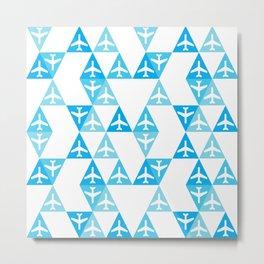 Geometric Planes Blue Metal Print