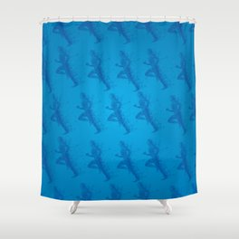 Watercolor running man silhouette background in blue color pattern Shower Curtain