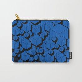 3D Cobalt blue Cubes Carry-All Pouch