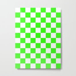 Checkered - White and Neon Green Metal Print