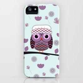 Owl in floral rain iPhone Case