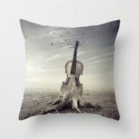 violin Throw Pillows featuring violin by Andrzej Siejeński