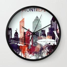 Montreal Watercolor Skyline Wall Clock