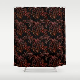 Holly Sprigs (Black Glow) - Jolly Red Shower Curtain