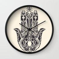 hamsa Wall Clocks featuring Hamsa by Hannah Gordon
