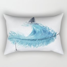 Water Feather • Blue Feather (horizontal) Rectangular Pillow