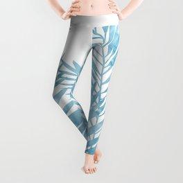 Palm Leaves Light Blue Leggings